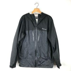 MARMOT black nylon rain jacket, size medium